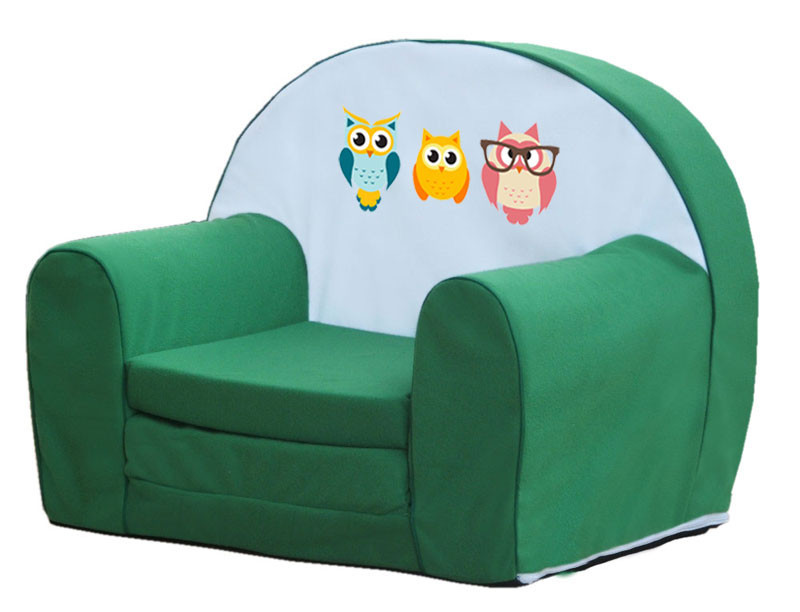 Zöld 3 bagoly szivacs fotel