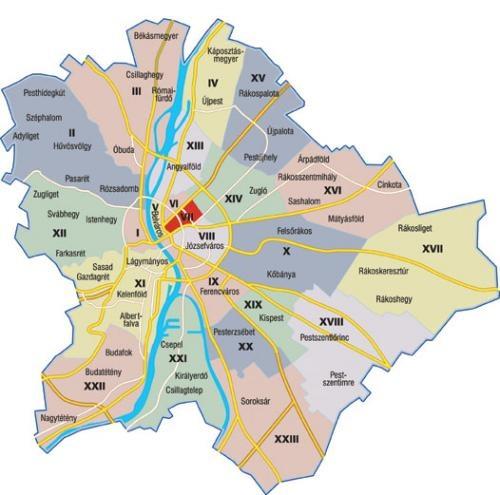 Budapest Terkep Keruletek Marlpoint