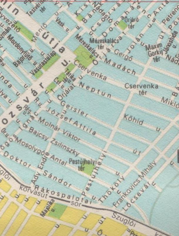 Újpalota 1974-es térképrészlet
