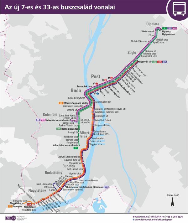 Az új 7-es és 33-as buszcsalád vonalai