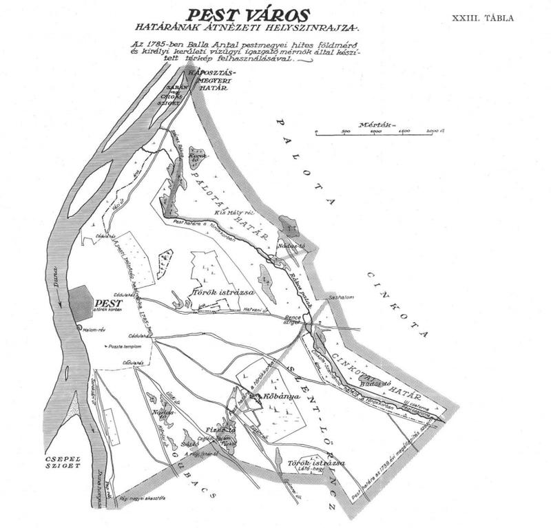 Pest város határának átnézeti helyszínrajza
