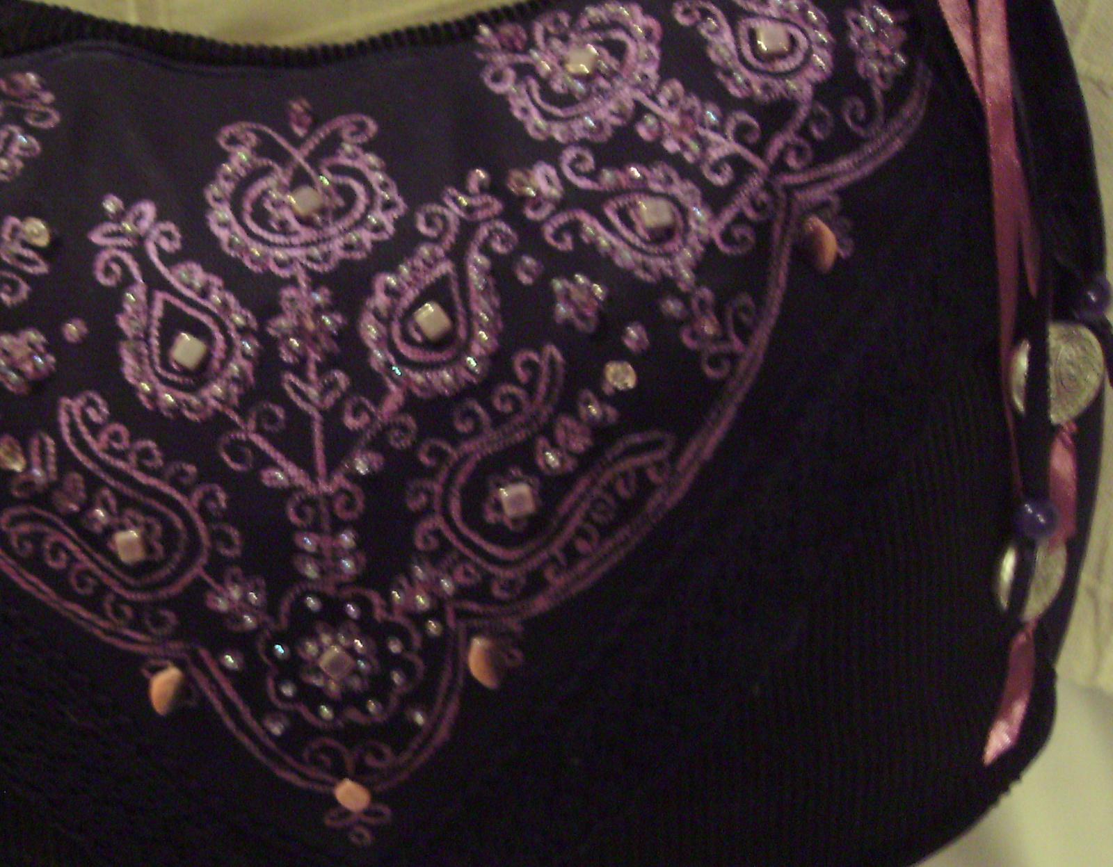 16 Fekete -lila kordbársony táska