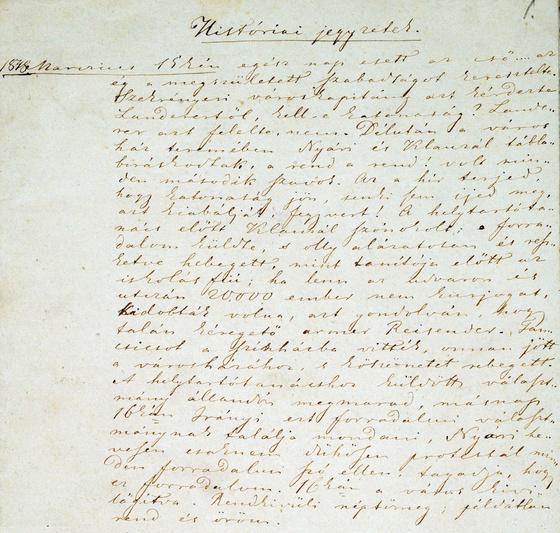 Országos Széchényi Könyvtár: Petőfi Históriai jegyzetek