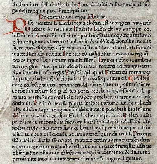 Országos Széchényi Könyvtár: Mátyás uralkodása