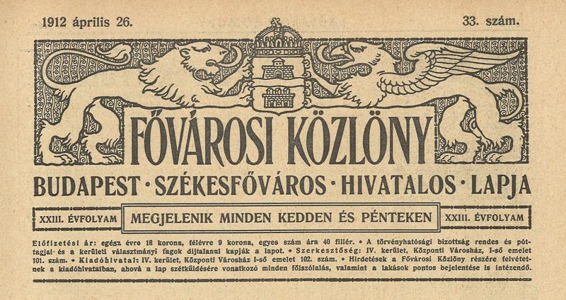 Fővárosi Közlöny, 23. évf. 33. sz.