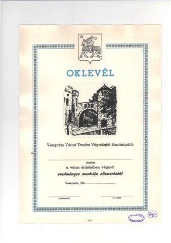 Oklevél a város érdekében végzett munka elismeréséért