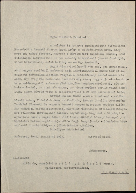 Fitz József levele Szilágyi László miniszteri osztálytanác