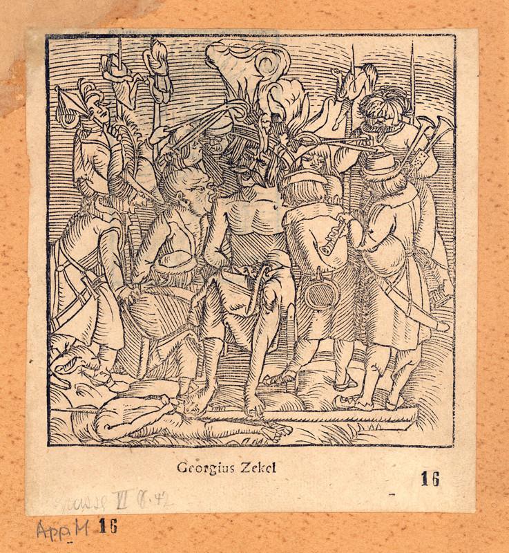 Dózsa György kivégzése Taurinus művében (fametszet, 1519)