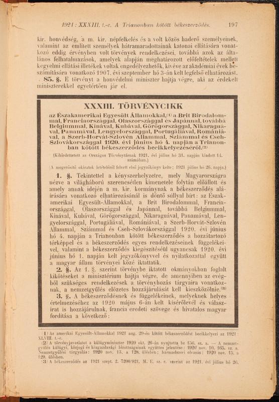 A Magyar Törvénytárba becikkelyezett törvényszöveg első oldala,