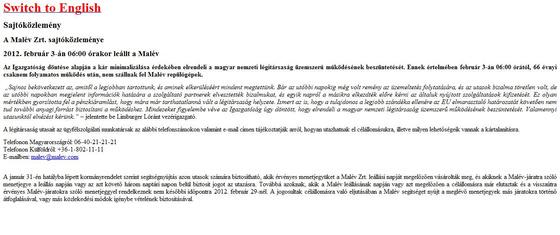 fovarosi.blog.hu: MALEV-20120203-malev.hu