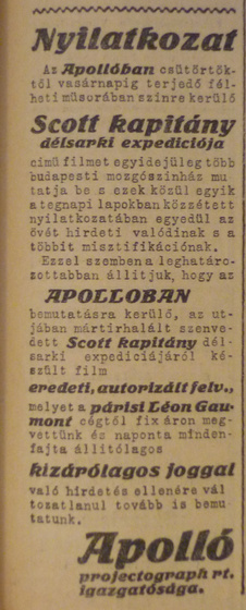 fovarosi.blog.hu: ApolloMozi-1913Marcius-AzEstHirdetes