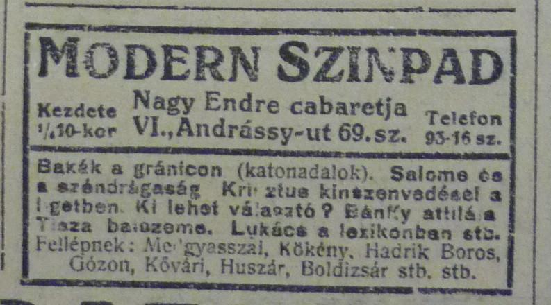 fovarosi.blog.hu: AndrassyUt69-ModernSzinpad-1913Januar-AzEstHirdetes
