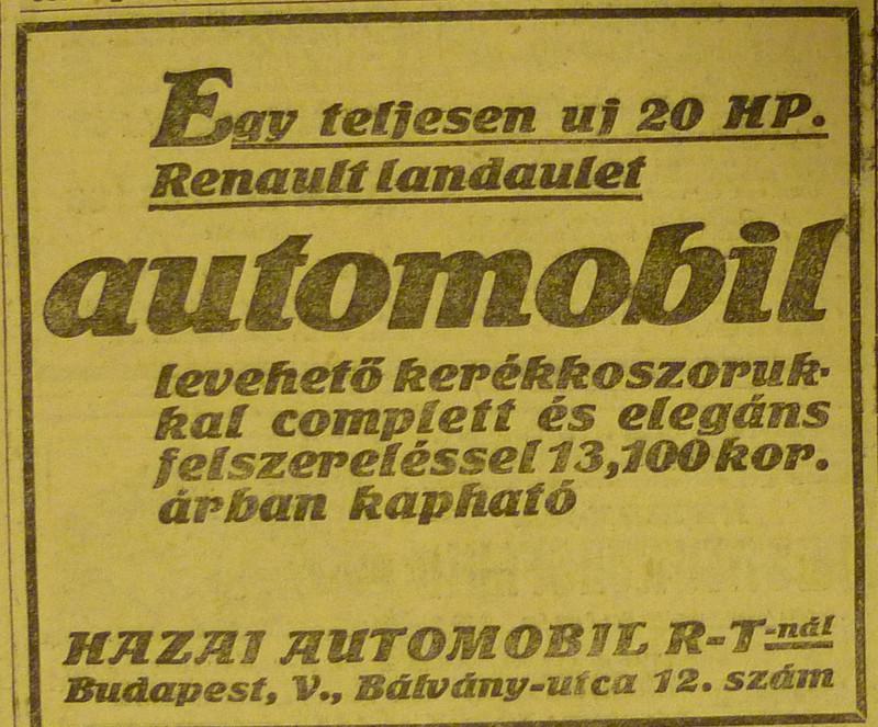 fovarosi.blog.hu: BalvanyUtca12-HazaiAutomobil-1913Junius-AzEstHirdetes
