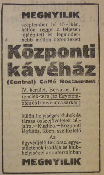 fovarosi.blog.hu: CentralKavehaz-1913Szeptember-AzEstHirdetes