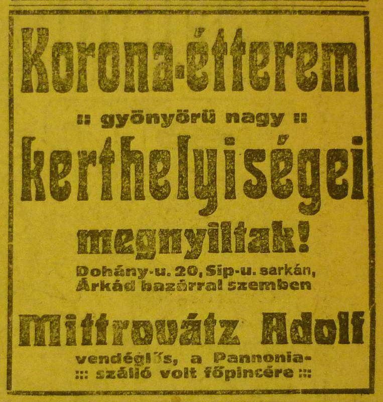 fovarosi.blog.hu: DohanyUtca20-KoronaEtterem-1913Majus-AzEstHirdetes