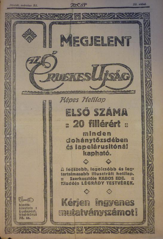 fovarosi.blog.hu: ErdekesUjsag-1913Marcius-AzEstHirdetes