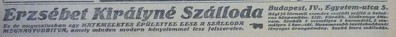 fovarosi.blog.hu: ErzsebetKiralyneSzalloda-1913Julius-AzEstHirdetes