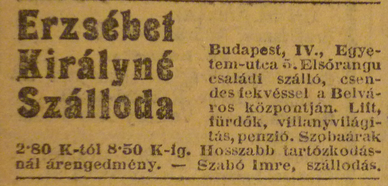 fovarosi.blog.hu: ErzsebetSzalloda-EgyetemUtca5-1913Januar-AzEstHirdetes