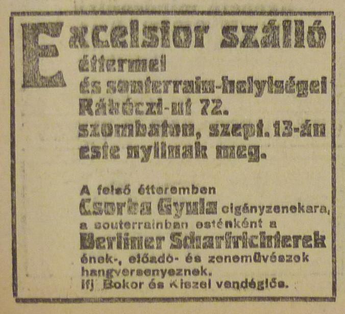 fovarosi.blog.hu: ExcelsiorSzallo-RakocziUt72-1913Szeptember-AzEstHirdetes