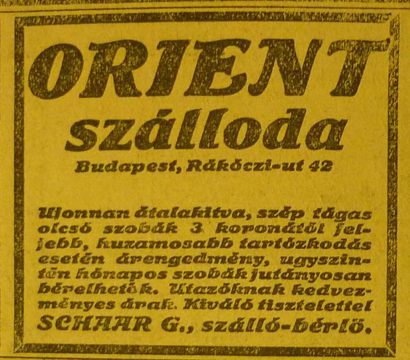 fovarosi.blog.hu: OrientSzalloda-RakocziUt42-1913Junius-AzEstHirdetes
