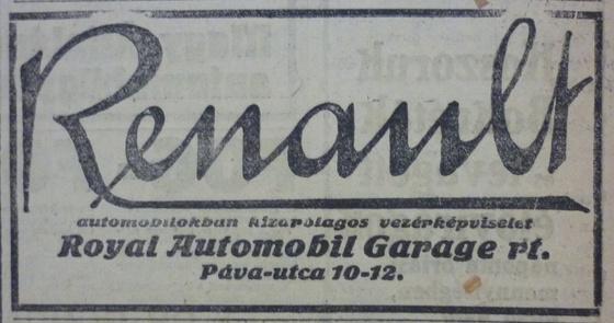 fovarosi.blog.hu: PavaUtca10-12-Renault-1913Januar-AzEstHirdetes