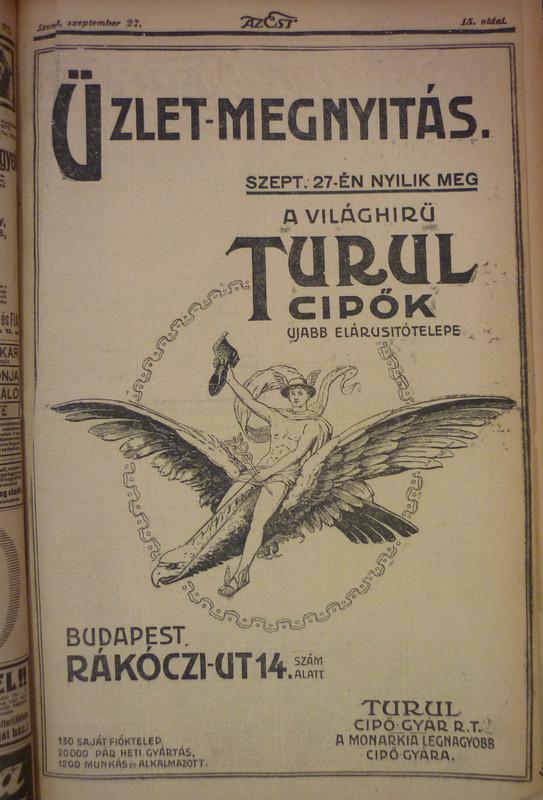 fovarosi.blog.hu: RakocziUt14-TurulCipo-1913Szeptember-AzEst