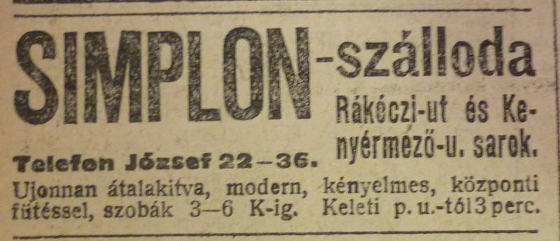 fovarosi.blog.hu: SimplonSzalloda-1913Szeptember-AzEstHirdetes