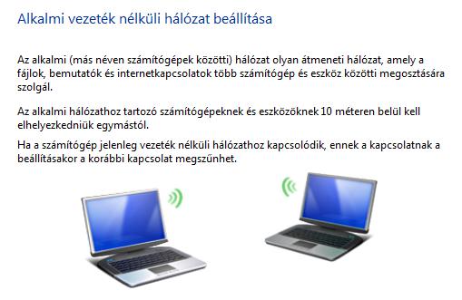 Ad-Hoc hálózat beállítása