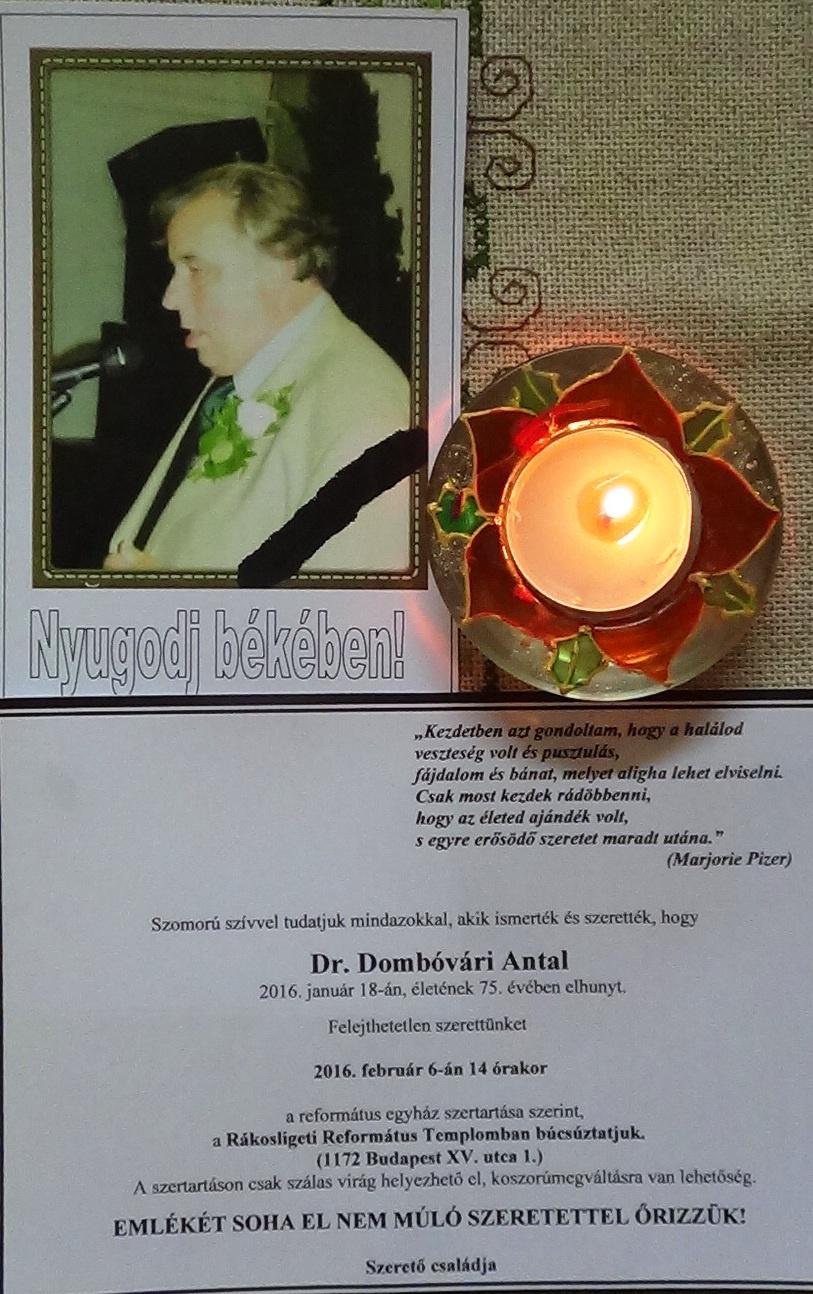 Dombóvári Antal gyászjelentés