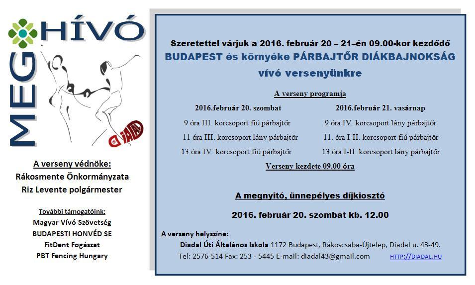 Meghívó Budapest Párbajtőr Diákbajnokság 2016.