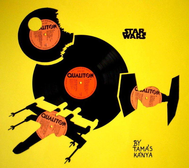 recycling art star wars vinyl records by tamás kánya
