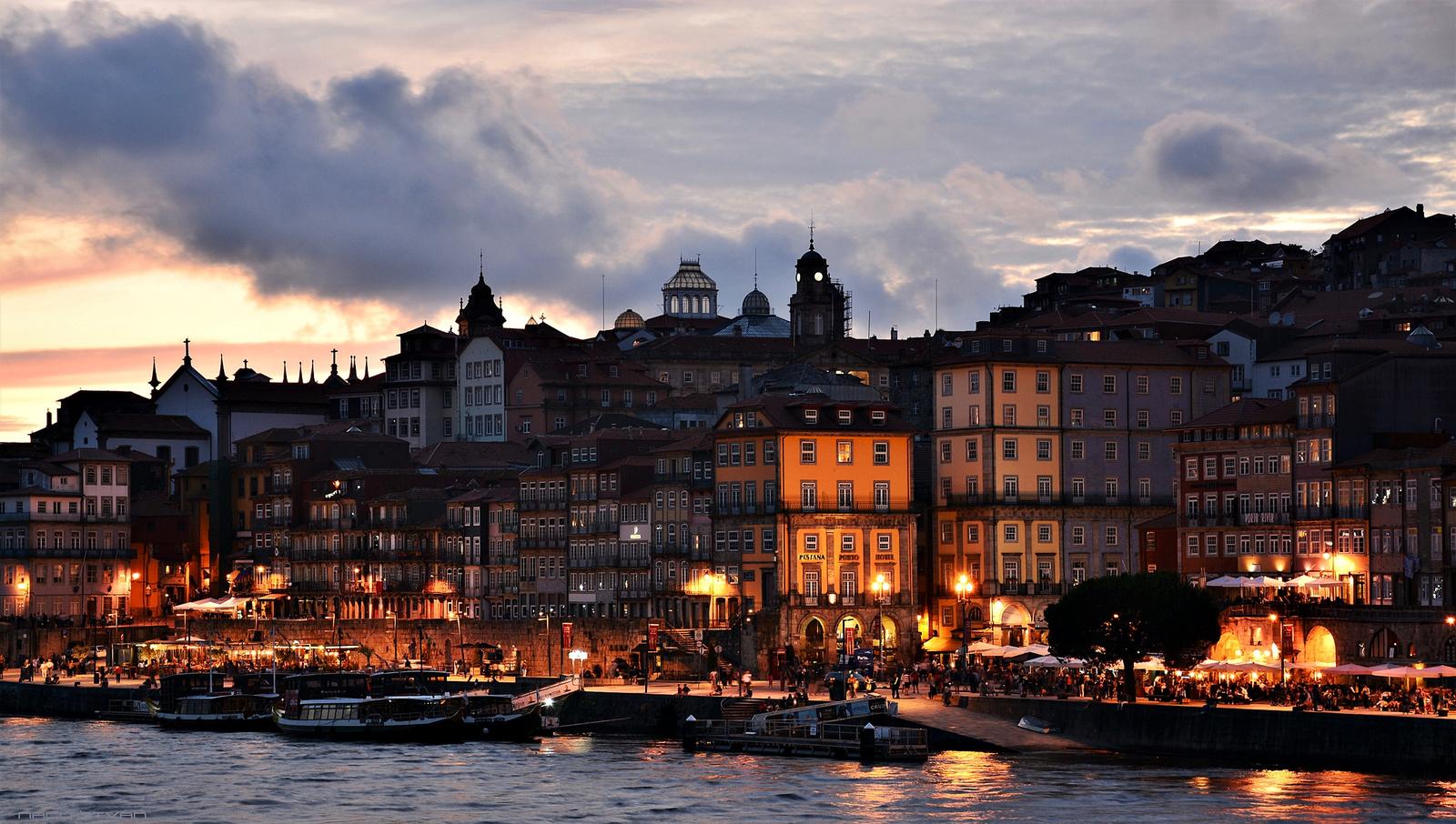 Porto - Bairro da Ribeira And Douro River At Sunset