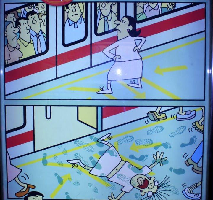 Kiszállás jel a szingapúri metróban - fotó: Mestska, cities.blog