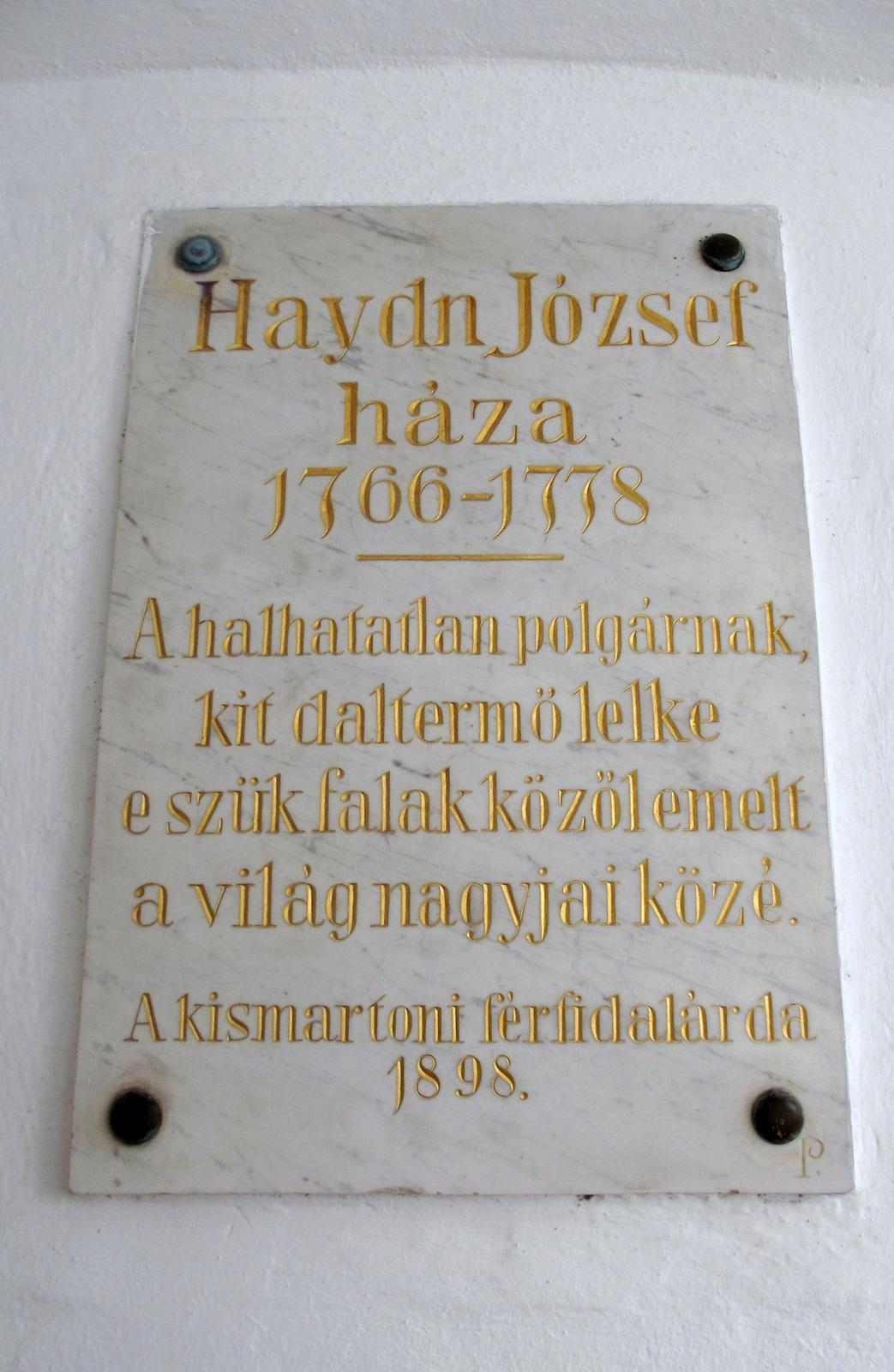 Haydn emléktábla